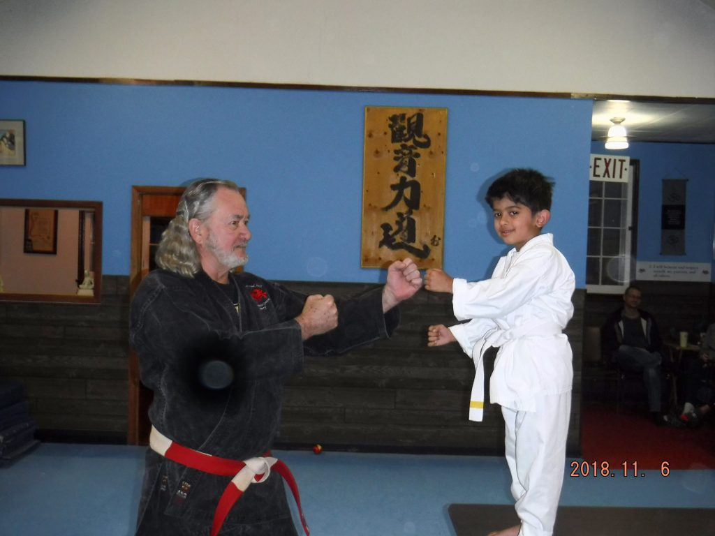 Port Perry Kids martial arts Mehar recieves his yellow srtipe